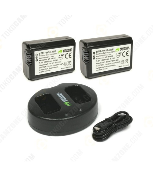 Wasabi Power Battery (2-Pack) and Dual Charger for Sony FW-50