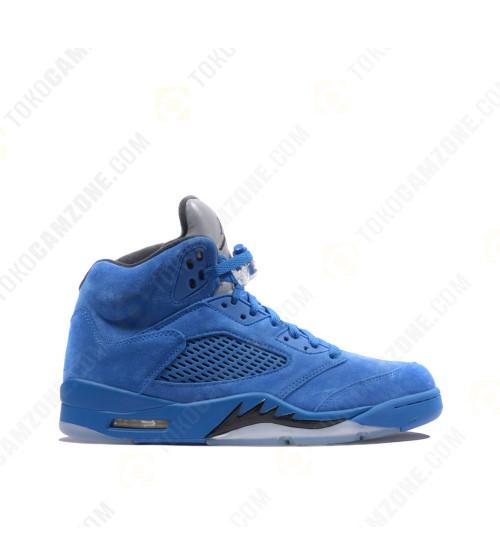 Nike Air Jordan 5 Retro Flight Suit Blue Suede- Size 8.5 US