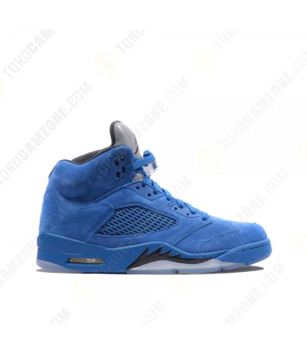 becb53cabc6077 Nike Air Jordan 5 Retro Flight Suit Blue Suede US Jual Sneakers Pria ...