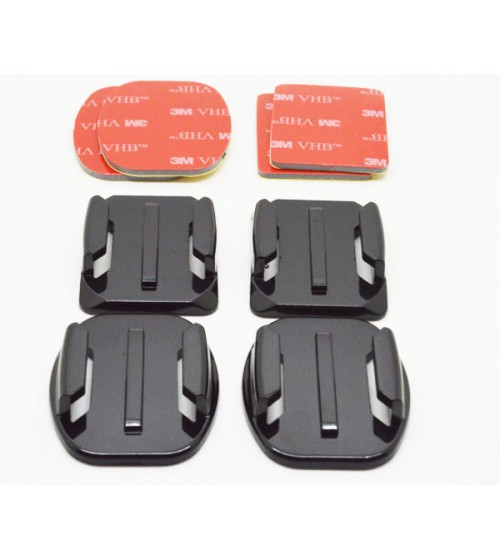 GP10 2x Flat Mount & 2x Curved Mount with 3M Adhesive Pads For GoPro