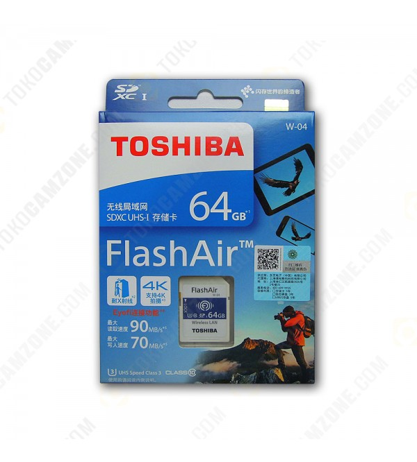Toshiba FlashAir W-03 Wireless SD Flash Memory Card 64 GB Wi-Fi Full HD