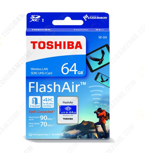 Toshiba FlashAir W-04 Wireless SD Flash Memory Card 64GB Wi-Fi Full HD