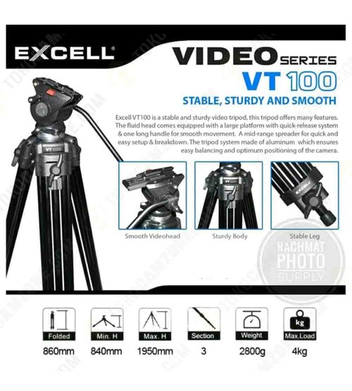 Excell Professional Video Tripod VT-100