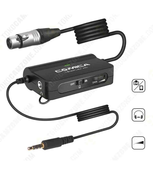 Comica LinkFlex AD1 XLR-3.5mm Preamp Audio Adapter for Both Smartphone and Camera
